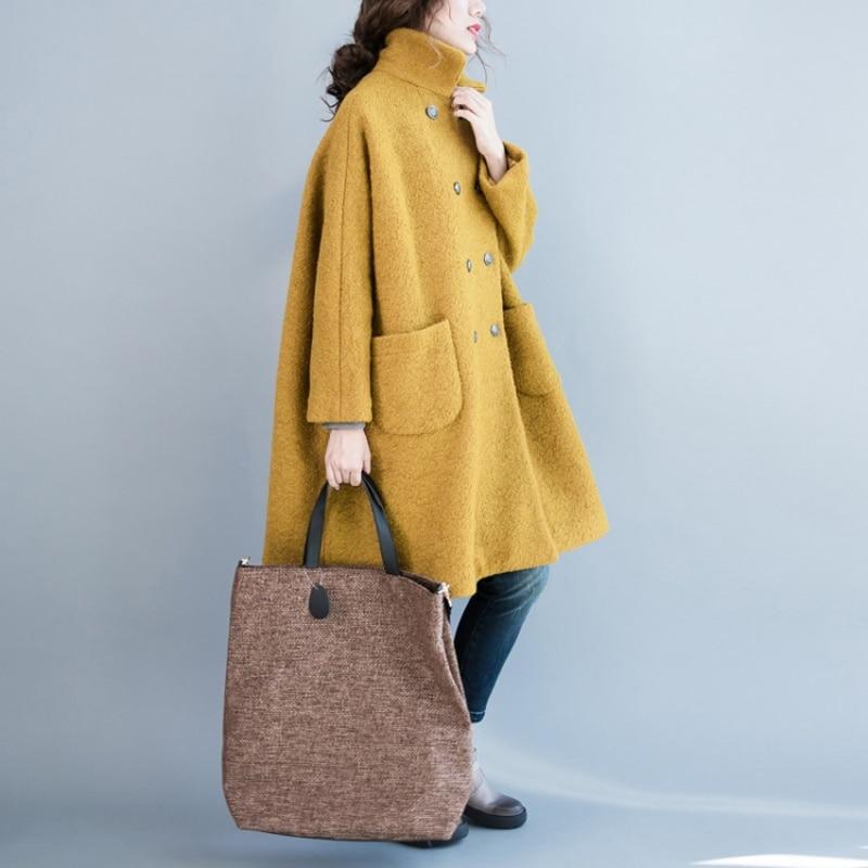 Nieuwe Plus Size Vrouwen 2018 Herfst Winter Wol Blends Jas Jas Dames Lange Overjas Mode Oversized Windjack Bovenkleding X147-in Wol en mengsels van Dames Kleding op  Groep 2