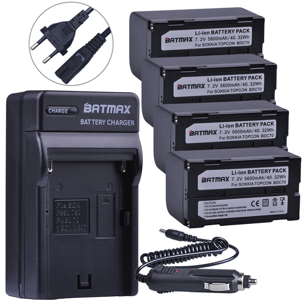 4Pc 5600mAh BDC70 Li-ion Battery+Wall Charger Kits for sokkia CX FX total station topcon ES OS total station монитор benq gc2870h black