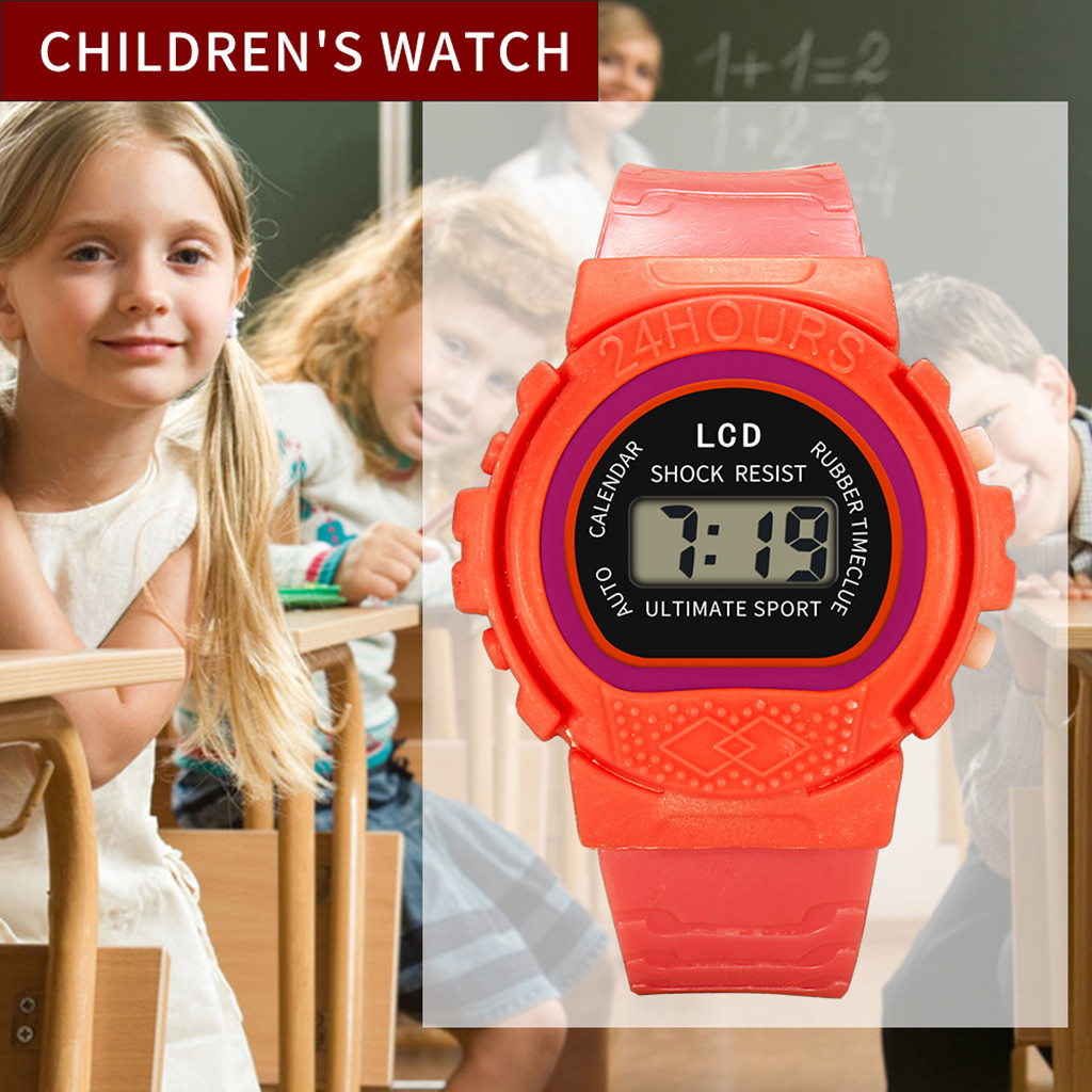 children's watch Girls Analog Digital Sport LED Electronic Waterproof Wrist Watch kids zegarek dla dzieci