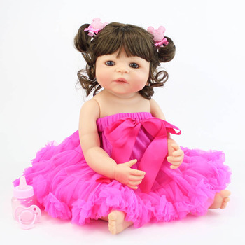55cm Full Silicone Vinyl Reborn Baby Doll Toy Like Real Girl Boneca Newborn Princess Babies Bebe Alive Birthday Present