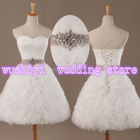 Fast Shipping Real Sweetheart Chic Tulle Short Ruffled Wedding Dresses Plus Size with Beaded Sash 2014 vestidos de noiva