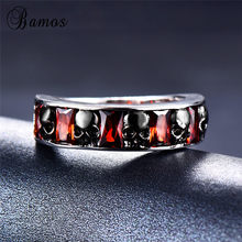 Bamos Boho Black Skull Ring Create Round Red CZ Ring Promise Wedding Rings For Women Men Retro Halloween Jewelry Couple Gift(China)