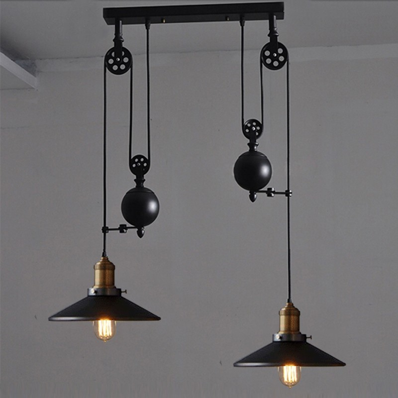 Bar black wrought iron pulley pendant light with wheels for Tiffany d dining room