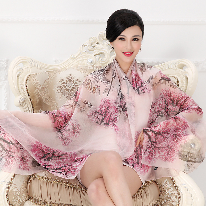 DANKEYISI 2017 Women Long Silk Scarf Shawl Spring Autumn Female Silk Scarves Printed Summer Silk Beach Cover-ups 175*110CM