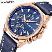 CUENA Fashion Man Clock Relojes Relogio Masculino Mens Watches Top Brand Luxury Genuine Leather Waterproof Quartz