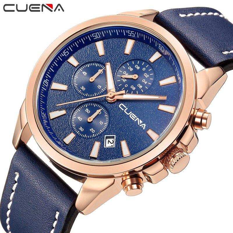купить CUENA Fashion Man Clock Relojes Relogio Masculino Mens Watches Top Brand Luxury Genuine Leather Waterproof Quartz Wristwatches по цене 1113.36 рублей