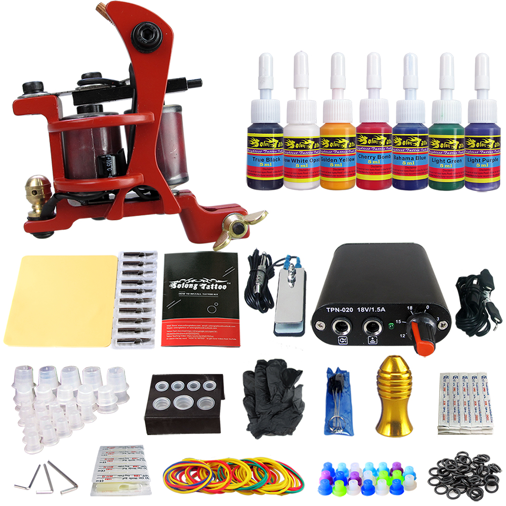 Tattoo Complete Tattoo Kit 1 Pro Machine Guns 7 Inks Power Supply Foot Pedal black red yellow blue skull design stainless steel tattoo foot pedal switch footswitch power supply