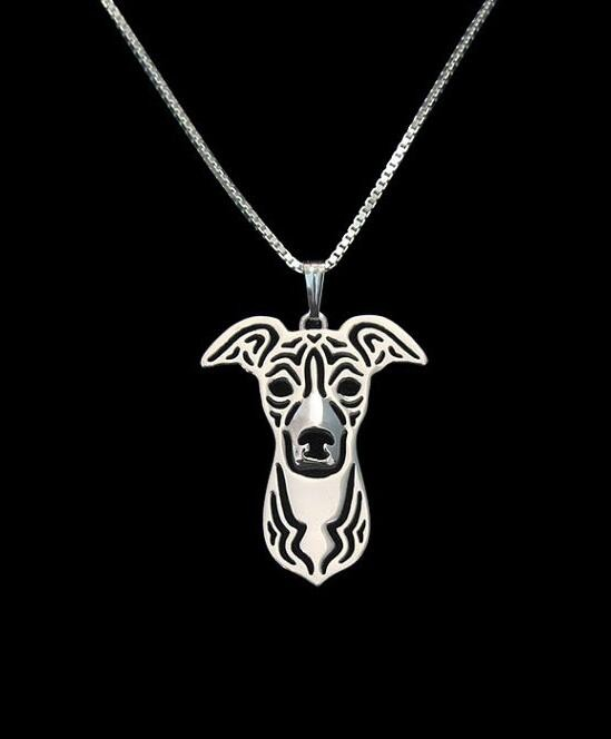 1pcs Rushed Chrysocolla Kolye Collares Sales Italian Greyhound Pendant And Necklace Hollow Out Dog Animal Lovers Love