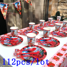 112Pcs/Lot Miraculous Ladybug Theme Disposable Tableware Cup Plate Etc Baby Shower Kid Birthday Wedding Party Decoration Supply
