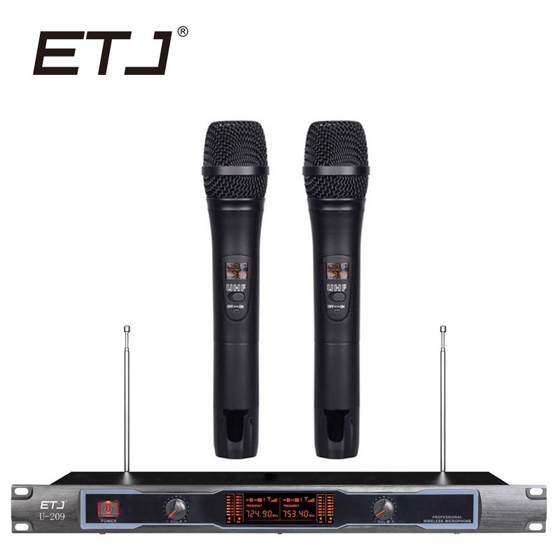 ETJ Brand Dual Wireless Microphone Karaoke Microfone 2 Handheld Transmitter Hotsale Model U-209 free shipping derrica u 6198 professional uhf wireless microphone karaoke system with u 198 handheld transmitter microfone mic