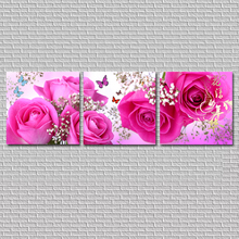 No Frame 3PCS Modular Wall Picture Art Painting Of Roses Tulips Print On Canvas Paintings Posters Living Room Bedroom