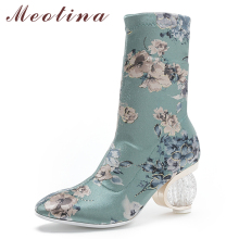 Meotina Women Ankle Boots Silk Embroider Strange Style High Heel Short Boots Flower Crystal Slip On Shoes Lady Autumn Size 34-43