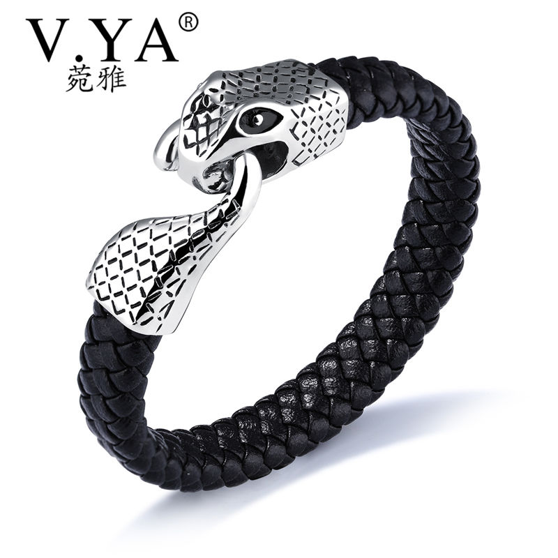 V.YA New Fashion Genuine Leather Zodiac Snake Head Rope Chain Bracelets Classical Simple Man Jewelry With Magnet Buckle Charms