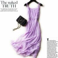 Новое 100% Настоящее 2018 шелковое платье женское натуральный шелк Высокое качество элегантное праздничное пляжное длинное платье Лаванда ром