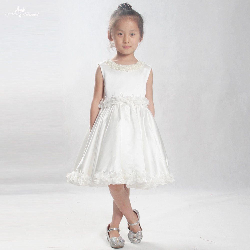 LZC025 White Pearls Beading Ball Gowns   Flower     Girl     Dresses   Vestido De Daminha   Girls     Dresses   2018