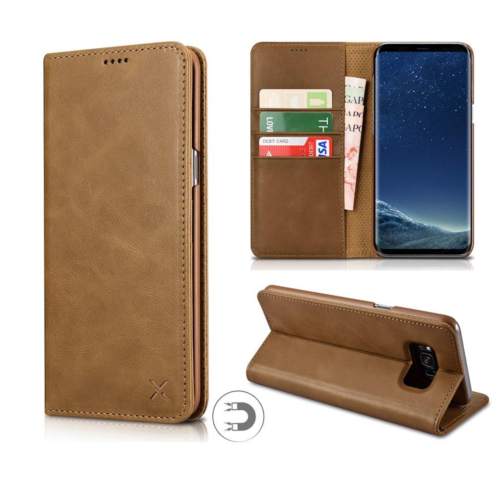 imágenes para XOOMZ para Galaxy S8 Más Caso Carpeta de Cuero Verdadero Del Tirón Del Imán Case para Samsung Galaxy Teléfono S8 s8 Plus Cubre Ranuras Para Tarjetas titular