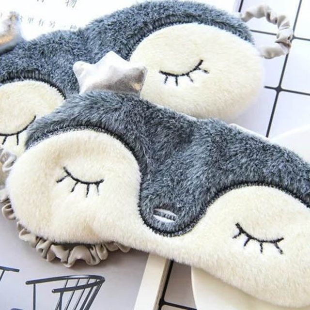 Cut Fluffy Animal Sleeping Eye Mask Nap Cartoon Plush Eye Shade Sleep Mask Black Mask Bandage On Eyes For Sleeping 5