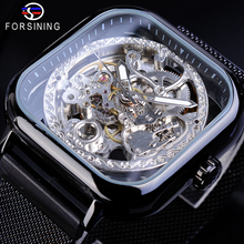 Forsining Retro Men Mechanical Watches Automatic Black Square Case Steampunk Mesh Stainless Steel Strap Dress Watch Reloj Hombre