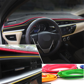 Haoyuehao Red flexible Auto Car Interior LED EL Wire Rope Tube Line neon light glow salon flat strip Pathway Lighting 12V 1m image