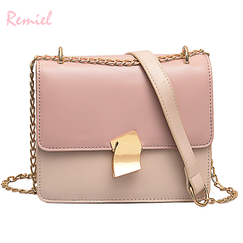 2019 Spring Fashion New Lock Square bag High Quality PU Leather Women's Designer Handbag Sweet Girl Chain Shoulder Messenger bag