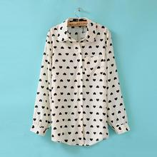 Nice Summer Autumn Style Long Sleeve Chiffon Black White Hearts Printing Loose Chiffon Shirt WoMen Clothing blouse&shirts