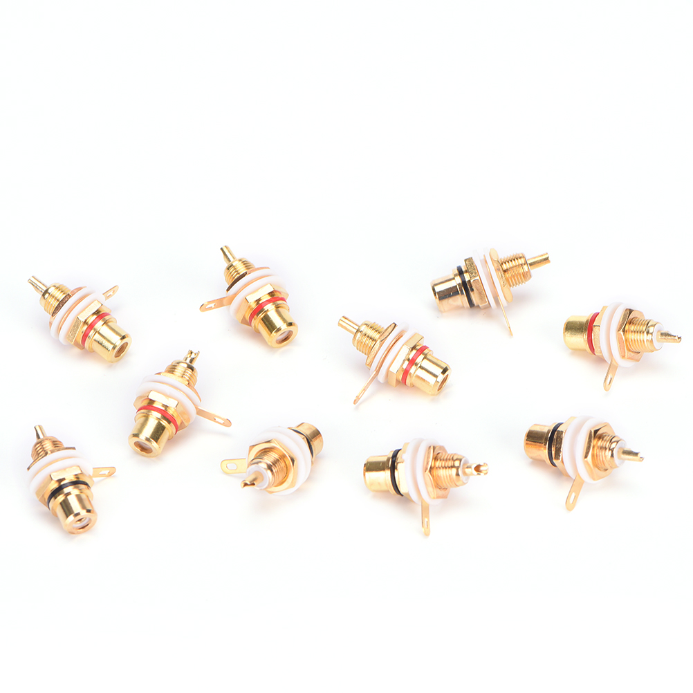 Panel Mount Gold Plated RCA Female Plug Jack Audio Socket Amplifier Chassis Phono Connector With Nut Solder Cup  10pcs/lot viborg audio 8pcs rhodium gold plated rca socket phono chassis female hifi amp