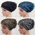 Moda Mujeres Flor Hijab Islámico Underscarf Caps Sombreros Internos Musulmanes Árabes Headwear