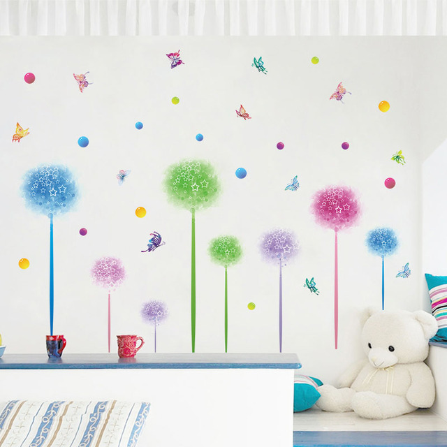Fantasy Flowers Dandelion Dots Butterfly Wall Stickers For Kids Rooms  Kitchen Bathroom Wallpaper Self Adhesive Film Part 45