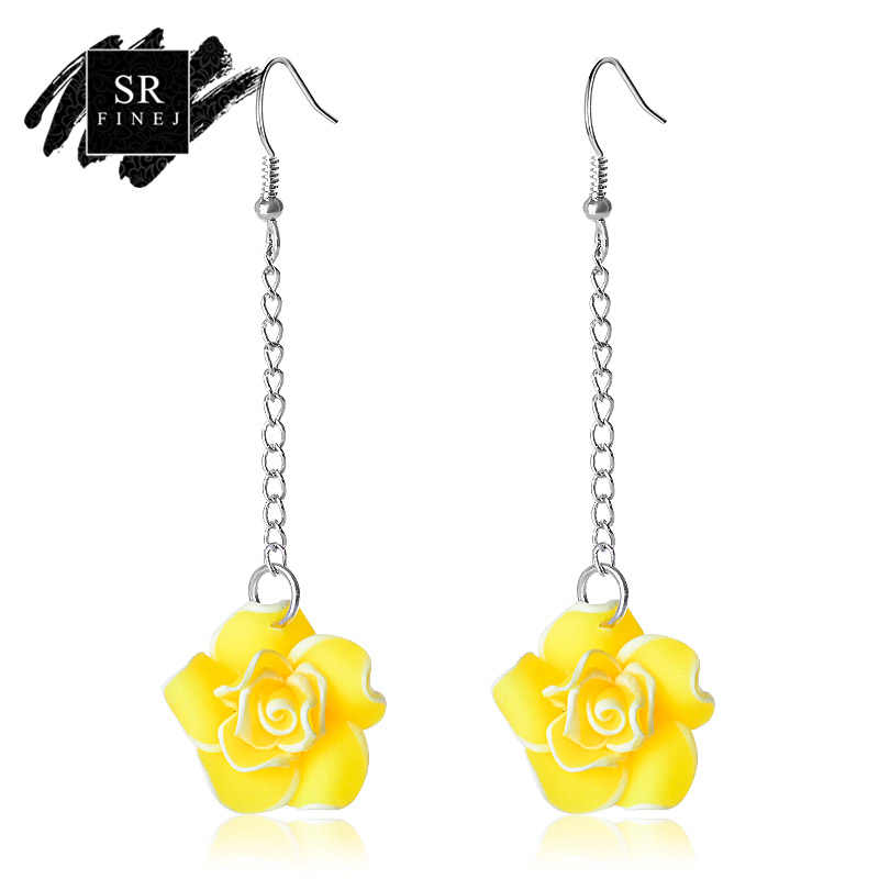 SR:FINEJ Fashion Lady Yellow Earrings Elegant Women Crystal Flower Colorful Long Drop Dangle Wedding Earrings Jewelry Nice Gift