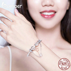 Image 5 - Bamoer Rose GoldสีเดิมCharmสร้อยข้อมือผู้หญิงดอกไม้Daisy Love Keyจี้Charms Solidเงิน 925 เครื่องประดับSCB824