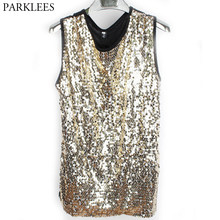 Mens Gold Sequin Glitter Mouwloos Vest Zomer Hiphop O Hals Tank Top Homme Nachtclub DJ Dance Singer Stadium Bling Tops tees Mannen(China)