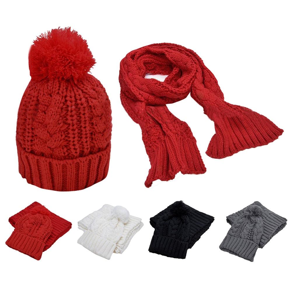 Warmer Women's Winter Hats 2 In 1 Set 2017 Fashion Women Thicken Scarf Wrap Hat Set Knitted Knitting Girls Collars Skullcaps