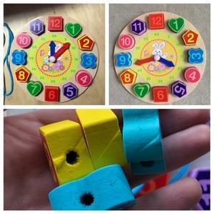 Image 3 - Per bambini In Legno Giocattoli di Puzzle Di Tangram Cognitivo Digitale Orologio Digitale Della Vigilanza di Legno Puzzle Giocattoli Educativi Del Fumetto Threading Giocattoli di Montaggio