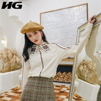 [HG] French Fashion 2019 Spring New Women Turn down Collar Full Sleeve Loose Shirt Female Patchwork Button Casual Blouse WBB2516