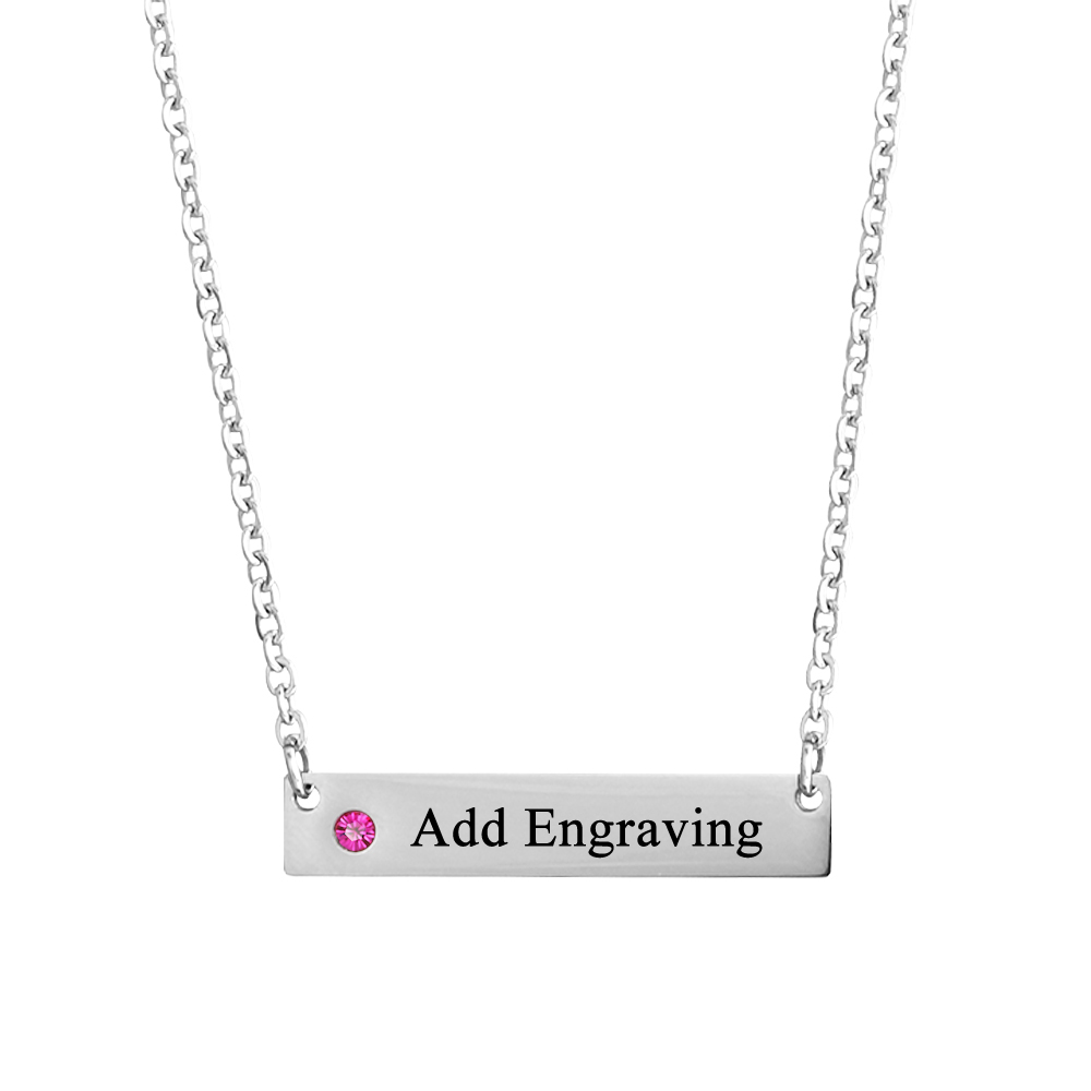 Birthstone Necklace Personalized Engrave Name Stainless Steel Women Necklaces & Pendants Women Jewerly (NE101787)