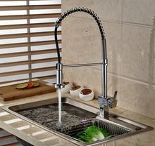 Однорычажный Кухонная Раковина Кран Chrome Pull Down Спрей Одной Ручкой Горячей и Холодной Воды Смесителя