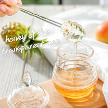 Honey Jar with Rod 245ml Transparent Jars and Lids Beehive-shaped Dripper Stick for Storing Dispensing