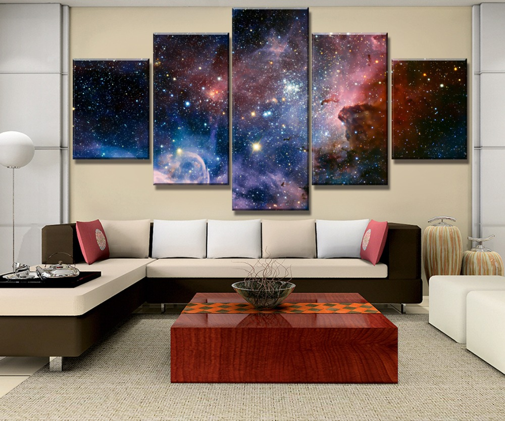 5 Piece HD Print Large Far Away Starry Sky Universe Painting Canvas Wall Art Picture Home Decoration Living Room Canvas Painting in Painting Calligraphy from Home Garden