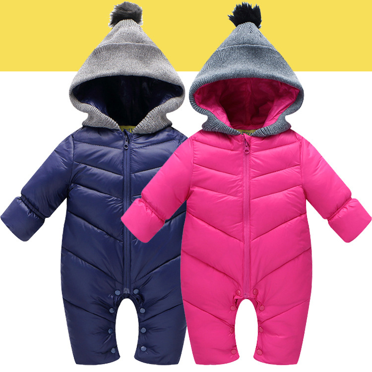 Down Cotton Baby Rompers Winter Thick Boys Costume Girls Warm Infant Snowsuit Kid Jumpsuit Children Outerwear Baby Wear 0-18m little devil baby rompers winter boys costume girls warm infant snowsuit kid jumpsuit children outerwear newborn baby clothing