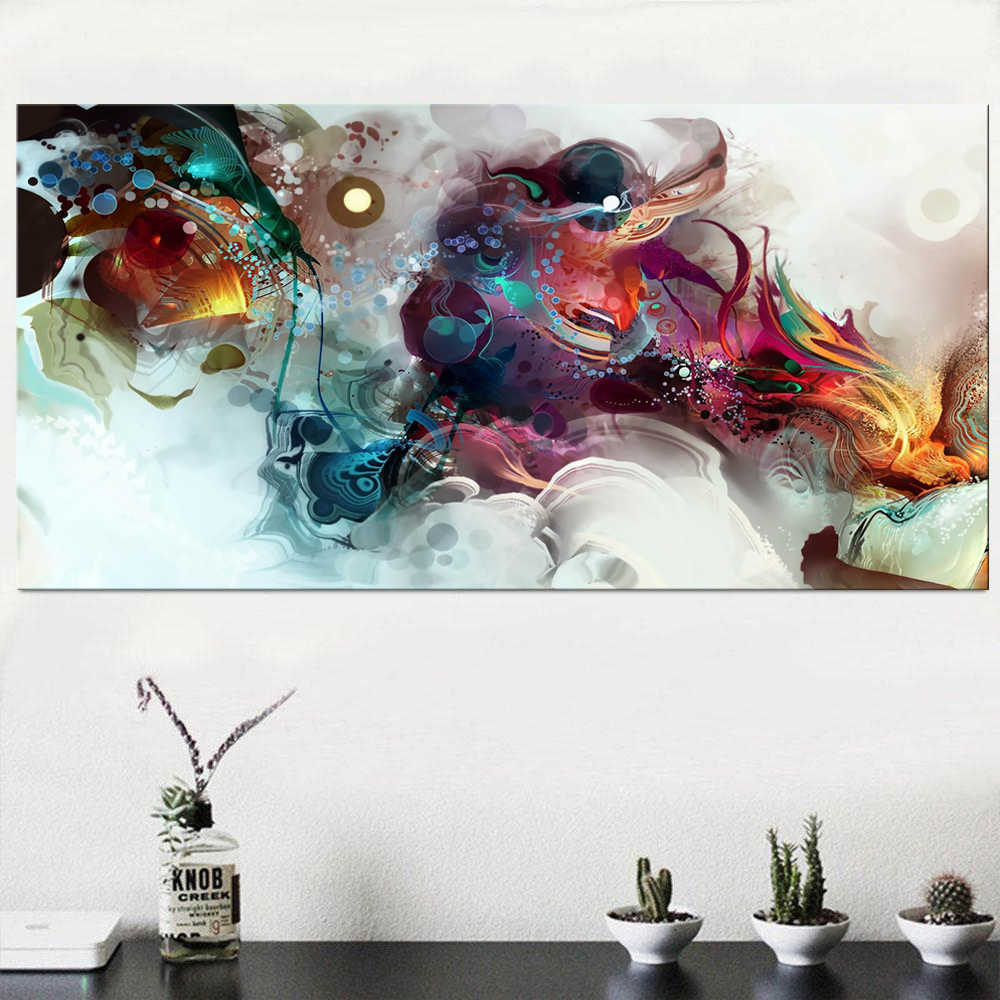 Colorful Ocean Large Abstract Poster Canvas Art Landscape Oil Painting Wall Pictures For Living Room Modern no frame