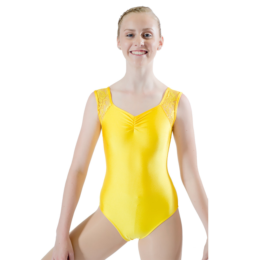 Svart skinnende Lycra Blonder Tank Dans Leotard Pink Girls Dancewear Blue Ladies Bodysuit Performance 10 farger