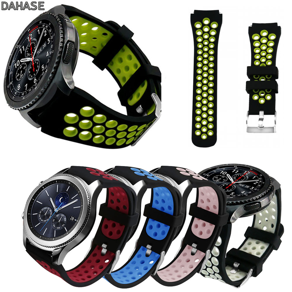 DAHASE Sport Soft Silicone Strap for Samsung S3 Classic R770 Band 22mm Bracelet for Gear S3 Frontier R760 Watch Band with Pins silicone sport watchband for gear s3 classic frontier 22mm strap for samsung galaxy watch 46mm band replacement strap bracelet