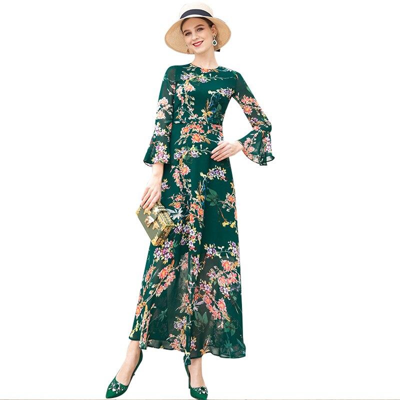 Été mousseline de soie longue robe papillon poignet manches plage robe imprimer fleurs vertes grande taille vêtements de soirée RR10025