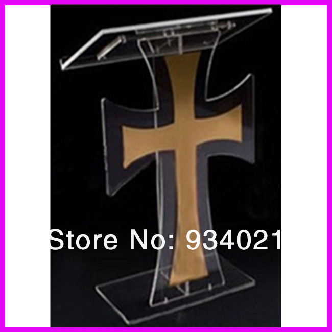 Acrylic Cross Lectern Podium Free shipping customized acrylic lectern crystal podium pulpit