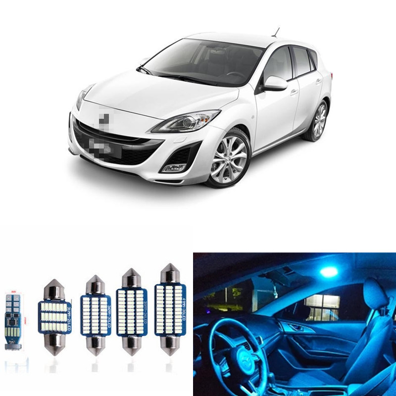 9pcs LED Light Bulbs Interior Package Kit For 2010 2011 2012 Mazda 3 Sedan or Hatchback Map Dome License Plate Lamp White 13pcs canbus car led light bulbs interior package kit for 2006 2010 jeep commander map dome trunk license plate lamp white