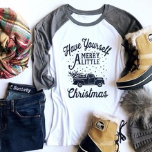 Women Christmas T-Shirt White Splicing Grey Long Sleeve O-Neck Letter Print Merry Christmas 2017 Casual Loose Autumn Ladies Tops