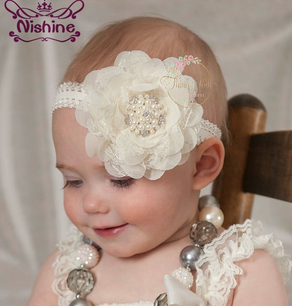 Nishine 10 Colors Lace Chiffon Flower With Pearl Rhinestone Button Center Elastic Kids Girls Headband Party Birthday Headwear