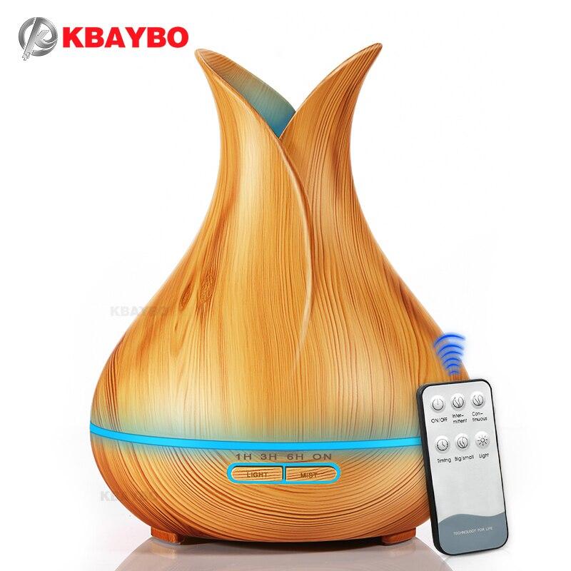 KBAYBO 400 ml Óleo Essencial Aroma Difusor Umidificador de Ar ultra com Grão de Madeira 7 Mudança Da Cor Luzes LED para o Escritório casa