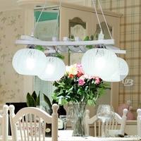 Открытый Подвесные Светильники краткое деревенский Шерсть Подвесные лампы освещения обеденный стол лампы зеленый лес и стеклянным абажур
