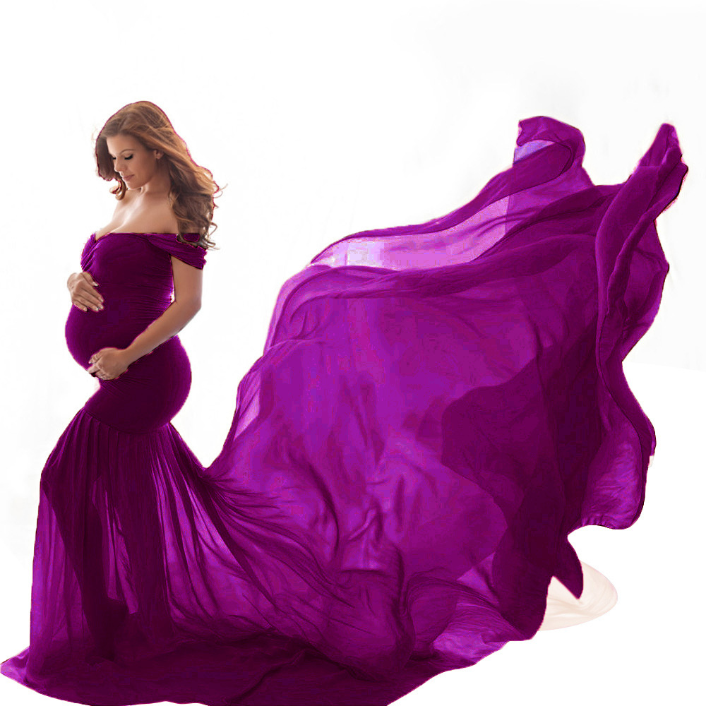 New Maternity Photography Prop Pregnancy Cloth Cotton Chiffon Maternity Off Shoulder Half Circle Gown Photo Shoot Pregnant Dress (1)
